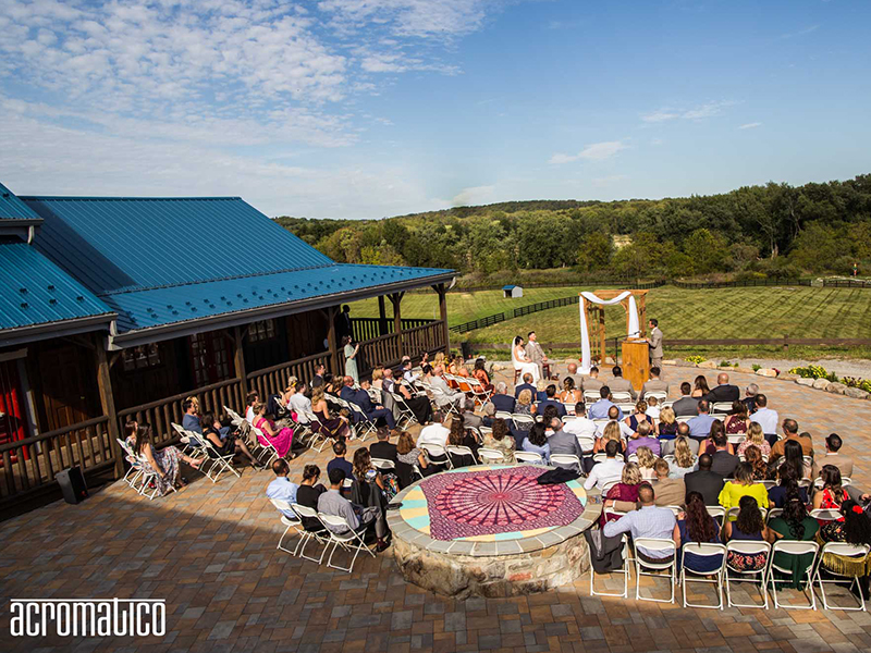 Wedding ceremony outdoors on the patio